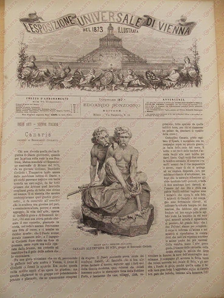 1873 ESPOSIZIONE DI VIENNA Benedetto CIVILETTI - Premi italiani *Rivista n° 37   Canaris