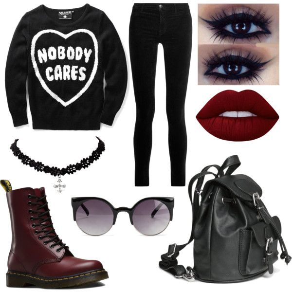 `\(0 _ 0)/' by pastellilapsi on Polyvore featuring Killstar, J Brand, Dr. Martens, NLY Accessories and Lime Crime