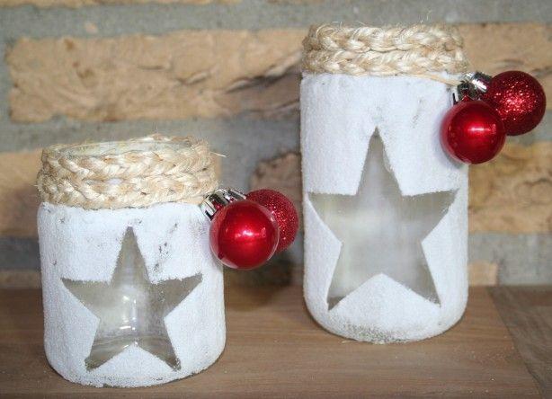 Met stijfsel, zout, lege potjes, touw en kerstballetjes heb je voor nauwelijks geld leuke theelicht houdertjes!
