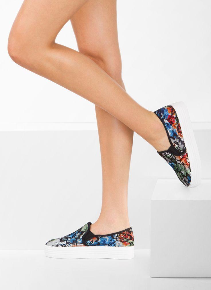 Trampki Slipony Floral Black Slip On / Tenisówki/Trampki / Obuwie damskie - Modne buty, stylowe ubrania i obuwie damskie, sklep z butami i ubraniami, modne buty letnie i zimowe - DeeZee.pl