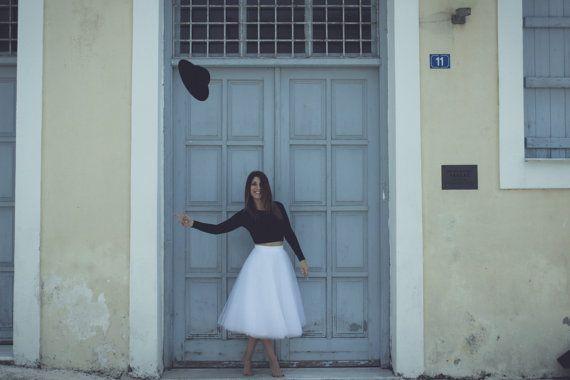 Tulle skirt midi skirt wedding skirt bridal skirt by JojoBlanc
