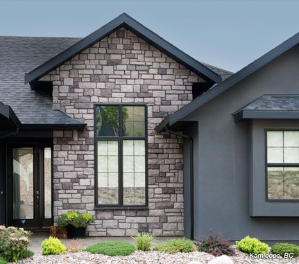 Home exterior grey cobblefield cultured stone brand for Exterior features of a house