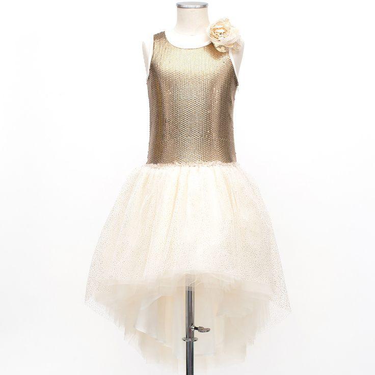 Miss Grant udsalg børnetøj Broderet kjole med guld pailletter og tyl flæser tilbud børnetøj
