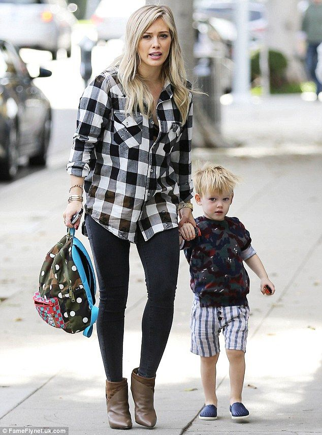 Busy Christmas Eve: Hilary Duff was spotted taking son Luca to a children's class in West Hollywood on Wednesday