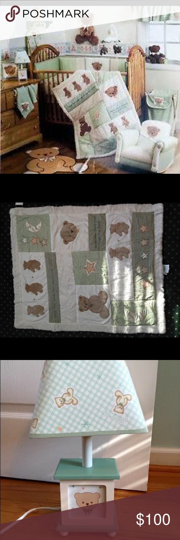"""Lambs and Ivy """"Dream Teddy"""" Nursery Set This nursery set comes with: crib comforter, bumpers, bed skirt, diaper stacker, matching lamp and nursery wall hanging, border rolls, window balances, and teddy sheets. This comes from a smoke-free home! In great condition! Lambs and Ivy Other"""