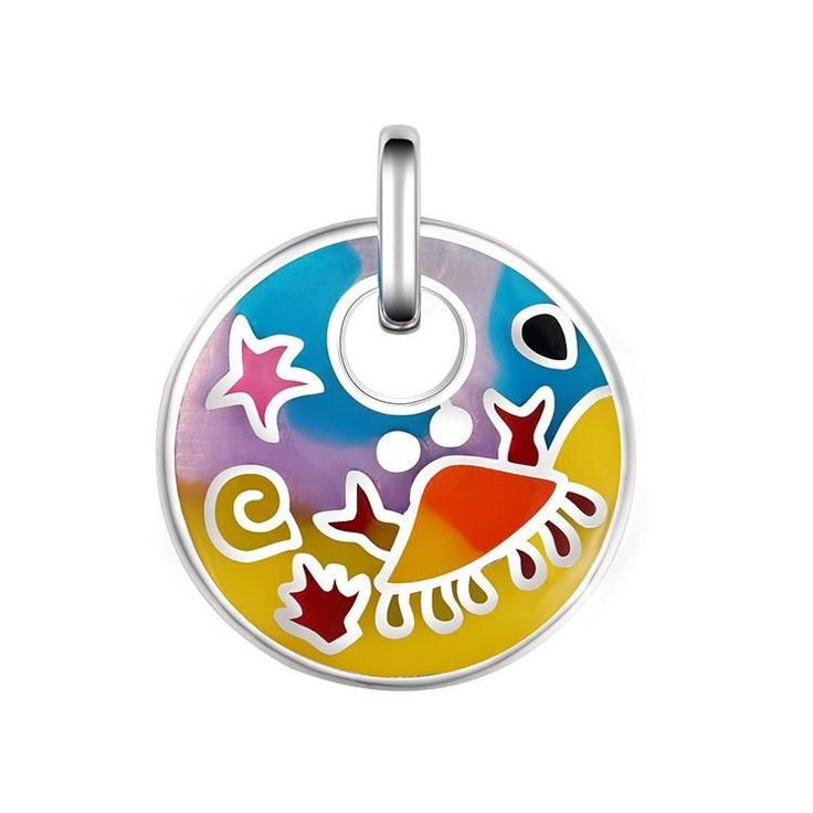 Fashion Colorful Ocean Sea Crab 925 Sterling Silver Round Pendant #SterlingSilverPaint