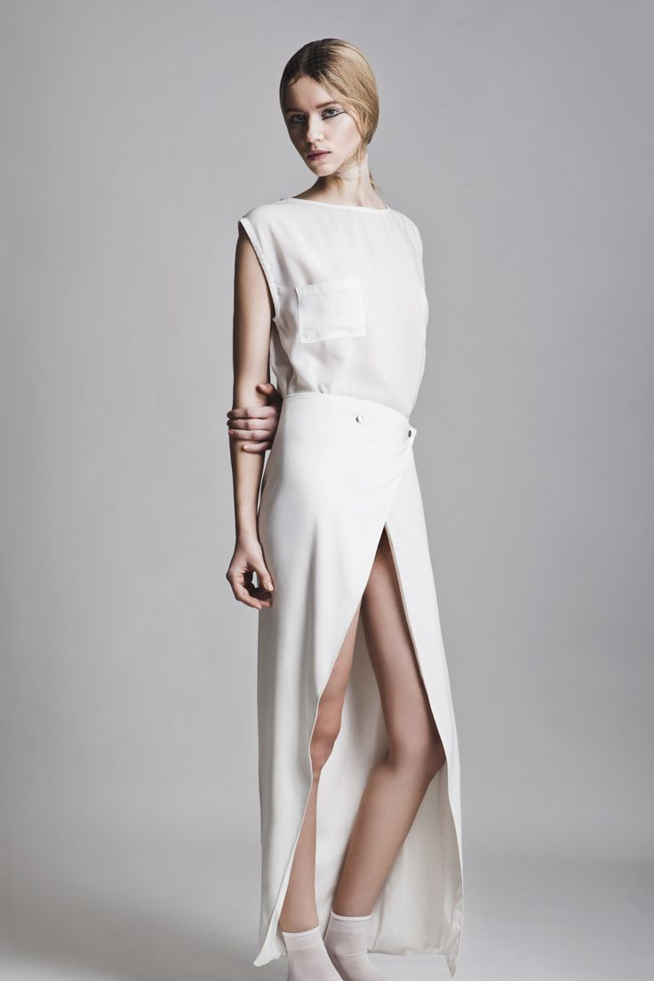 Clothes: Vassiliki Charitou SS15 Photographer: Vasilis Topouslidis Hair - Make up: Katerina Theofilopoulou  white top and wrap skirt