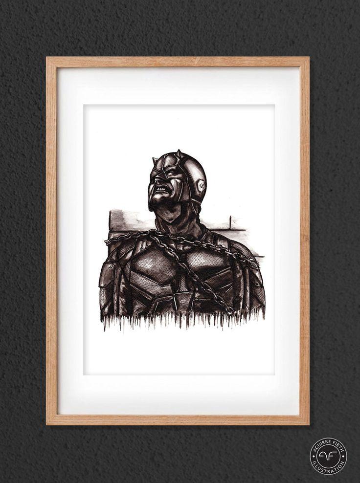 """""""Daredevil Print"""" by Aguirre Firth Illustration     SHOP:  www.aguirrefirth.com  Follow on:  Instagram: www.instagram.com/aguirrefirth Twitter: www.twitter.com/aguirrefirth"""
