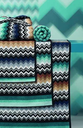 Add colour to a dull bathroom with statement bath towels.. Missoni towels, watery inspiration! International Down & Linen