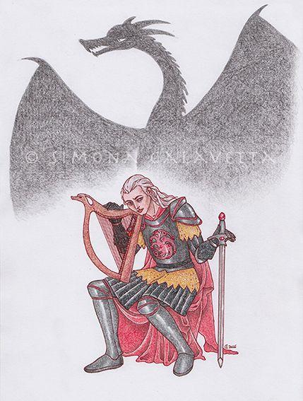 Rhaegar Targaryen - ink and pencils - 2016