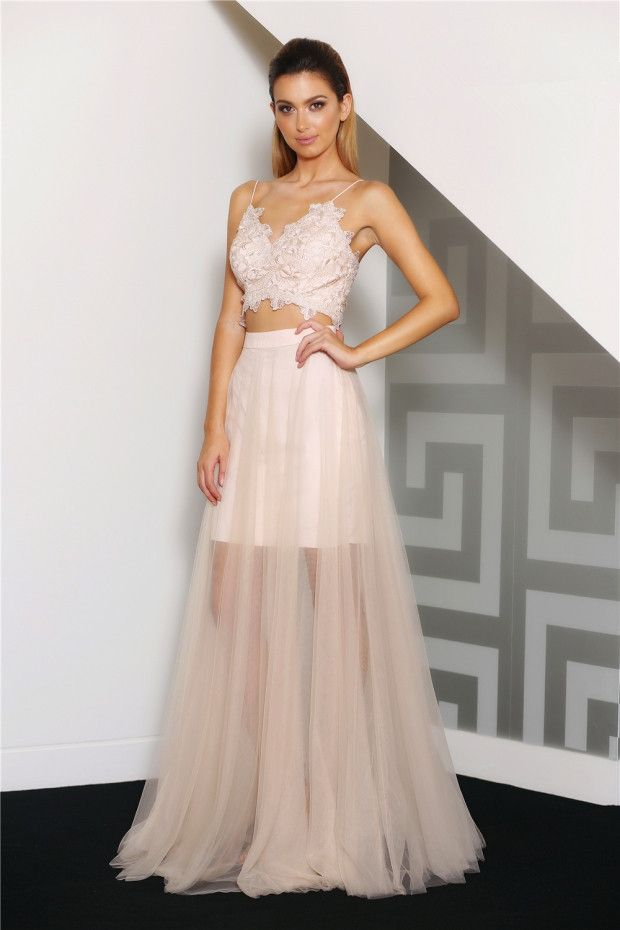 Modern 2 Piece Spaghetti Straps Long A-line Blush Tulle Homecoming Dress