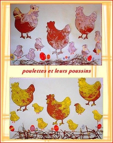 Une peinture sur une feuille marron puis découpage de poules et poussins