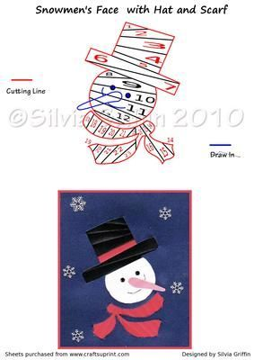 Click to add Snowman's Face with Hat and Scarf to your Craftsuprint Basket