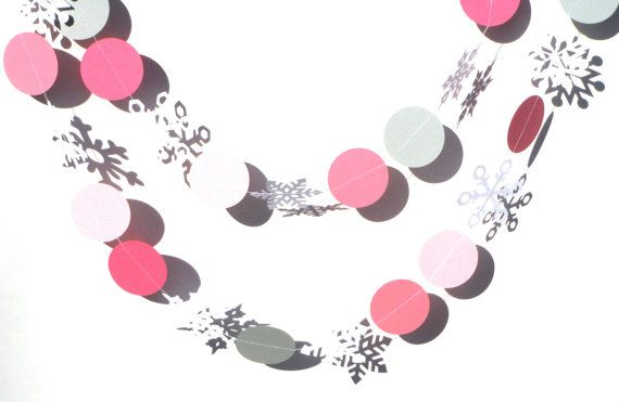 Pink and Grey Circles and White Snowflakes by ScrapsToRemember