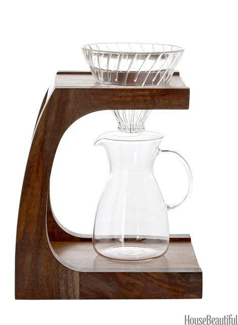 Coffeemaker  The pour-over method is all the rage. Maybe it's the good-looking equipment? Clive Stand, $195; Hario V60 Glass Coffee Dripper, 29 dollars; and Hario Heatproof Decanter, 15 dollars. clivecoffee.com.