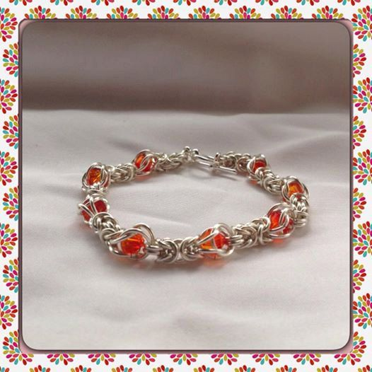Fire Opal Coloured Byzantine Weave Chainamille by BeadsofCreation