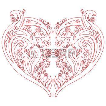 tatuaggio cuore: San Valentino Swirly amore cuore tatuaggio ispirato carta ritaglio, in bianco con il disegno tratto rosso, stile schizzo su sfondo bianco