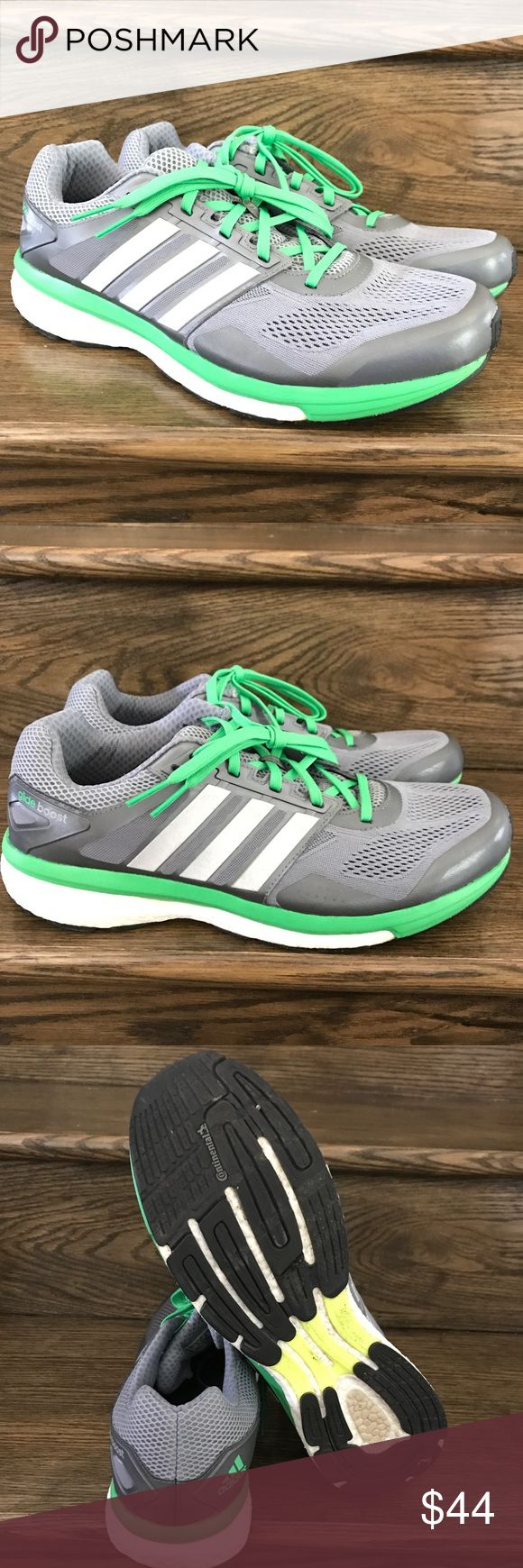 Mens Adidas Glide Boost Grey/Green Running Shoes Size: 12.5  Condition:8.5/10 adidas Shoes Sneakers