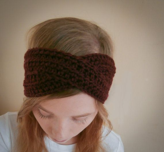 Sale Turban headband burgundy knit headband by PreciousLambKnits