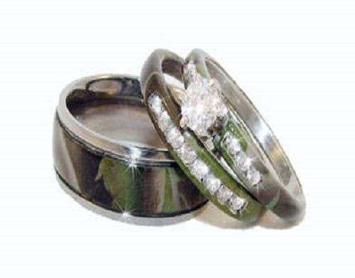 Simple Camo Wedding Ring Sets Luxury Style