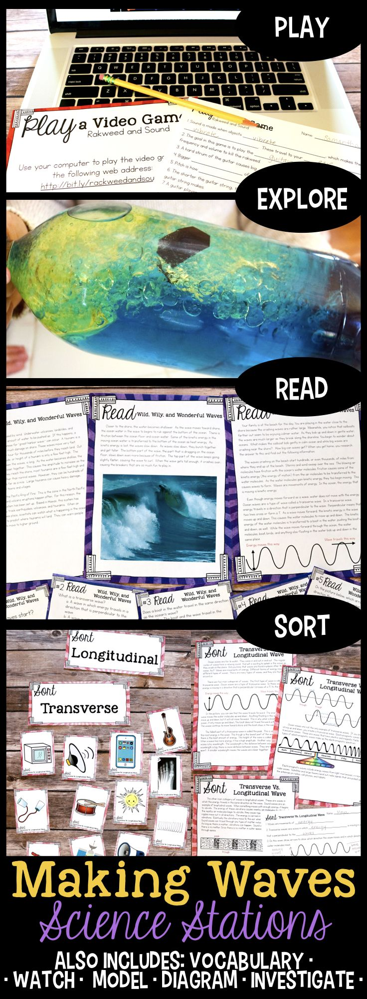 Making Waves - Wave Properties science stations for fourth grade each students about what happens when sound enters the ear. #fourthgradescience