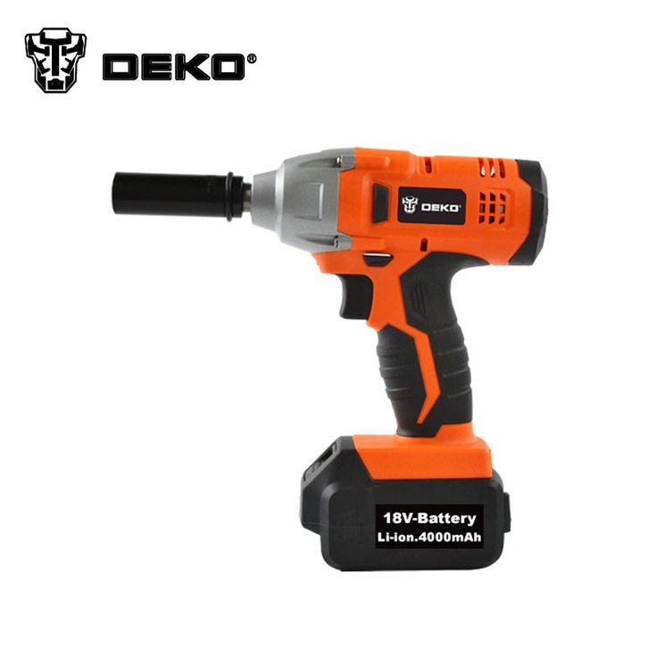 DEKO 1/2'' Li-ion   0-3200Bpm 4.0Ah 250N.m Electric Impact Wrench Car Tyre Wheel Wrench Cordless Drill