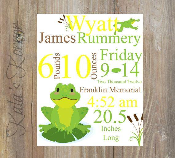 Frog Nursery Art - Frog Nursery Décor - Birth stats Subway art by KalasKorner, $12.00