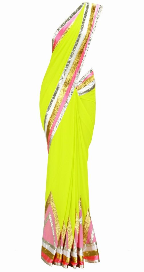 Green and pink saree with offwhite & pink satin borders and embroidered gota triangles on pallu.