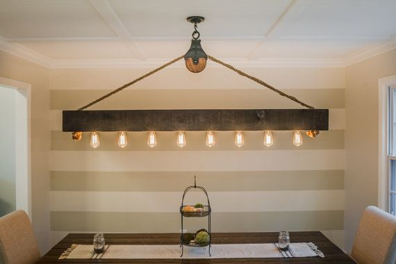 6 ft Rustic Beam Edison Bulb Chandelier by HandCraftedLighting
