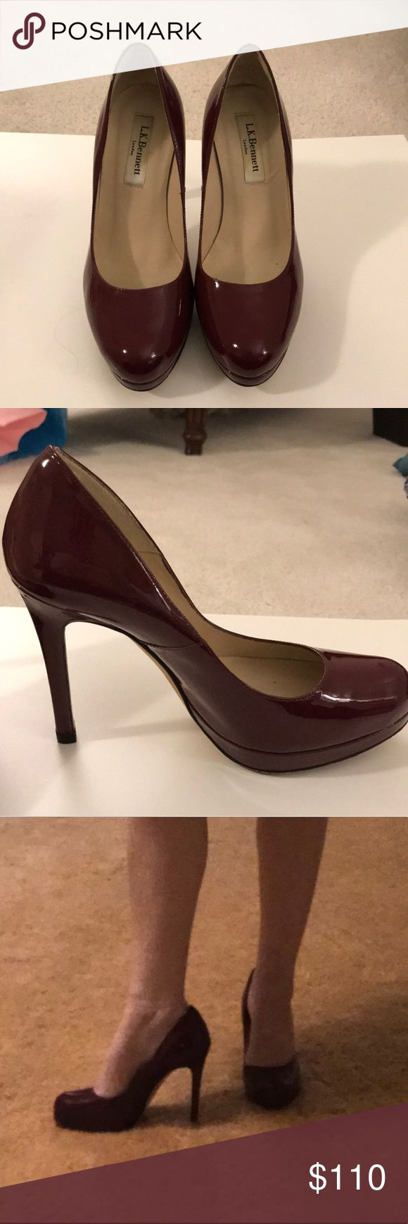 Lk Bennett maroon pumps Like new, these maroon pumps add color and style ( they are the go to style for Kate Middleton) to any outfit.  Wear them and make your outfit pop while also being comfortable. There is normal wear on soles and one little nick on the inside of the left heel ( picture shown -not noticeable when wearing only if you are looking upclose)...make your outfit pop with these pumps! LK Bennett Shoes Heels