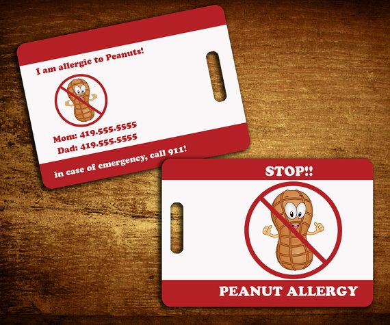 Peanut Allergy Personalized Bag/Luggage Tag by SweetCartolina