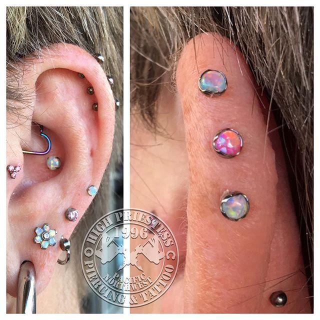 Triple outer rim helix cartilage piercing.