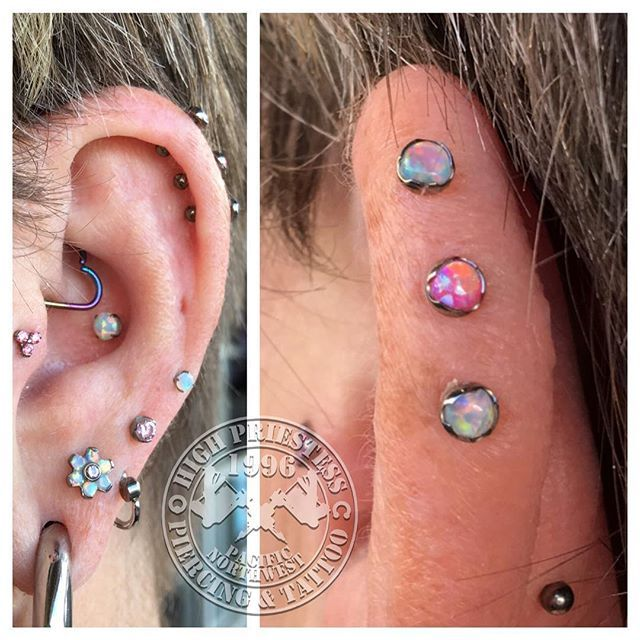 Triple outer rim helix cartilage piercing.