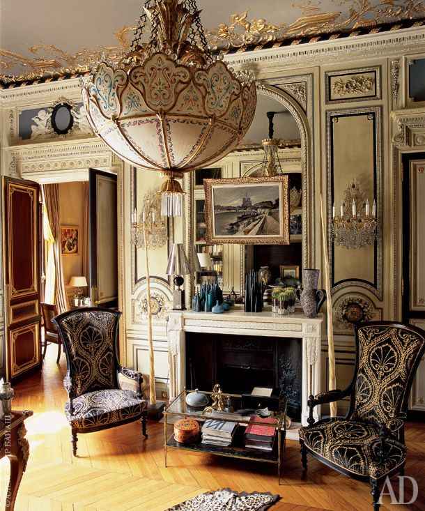 Parisian apartment - ceiling detailing XIX century. Chandelier, 1870. Chairs by Madeleine Castaing in the original upholstery.