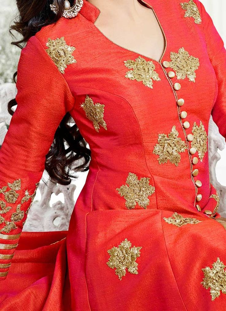 Red Art Silk Lehenga with Floral Motifs