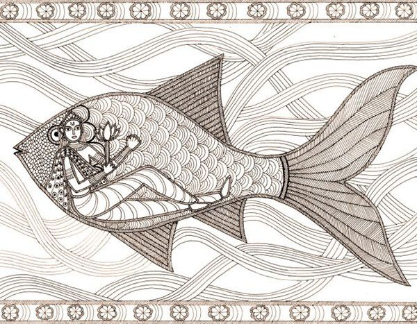 These are illustrations inspired by Madhubani painting--a folk art from India