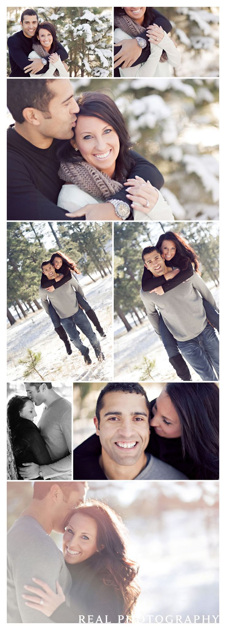 winter engagement portrait shoot snow couple photo ideas