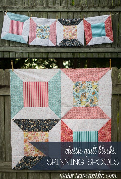 "Classic-Spool-Quilt-Block-tutorial for 12"" & 18"" blocks-Sew Can She"