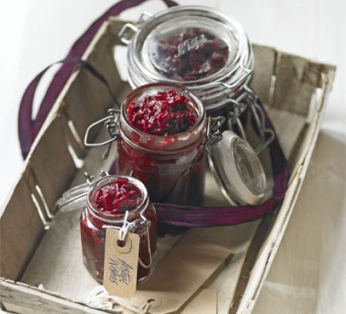Serve this vividly coloured chutney with cheeses and cold meats - great to give as a gift, too