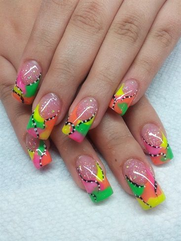 Neons by safarinails nail art gallery by nails magazine www - French manucure 2017 ...