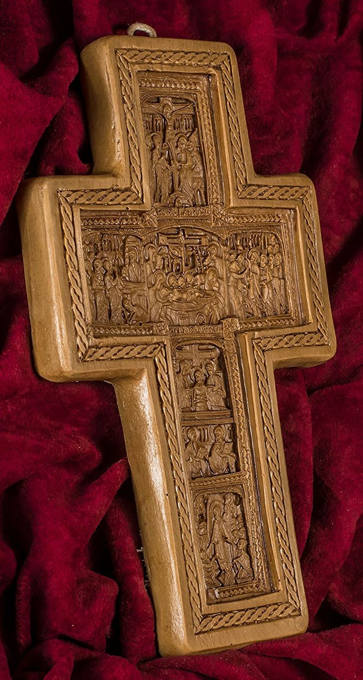 Wall Cross Crucifixion Hand-carved Aromatic Greek Russian Christian Orthodox Plaque Made with Pure Beeswax, Mastic and Incense From Mount Athos