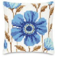 Blue Deco Flower Pillow Top