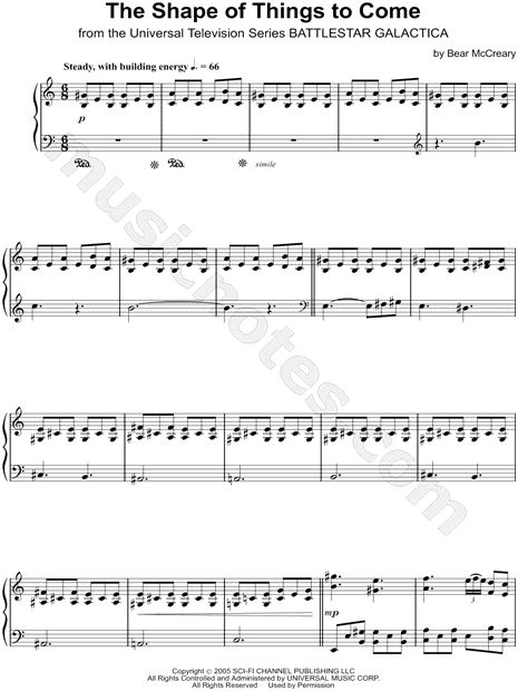 Print and download The Shape of Things To Come sheet music by Bear McCreary arranged for Piano. Instrumental Solo in A Minor.