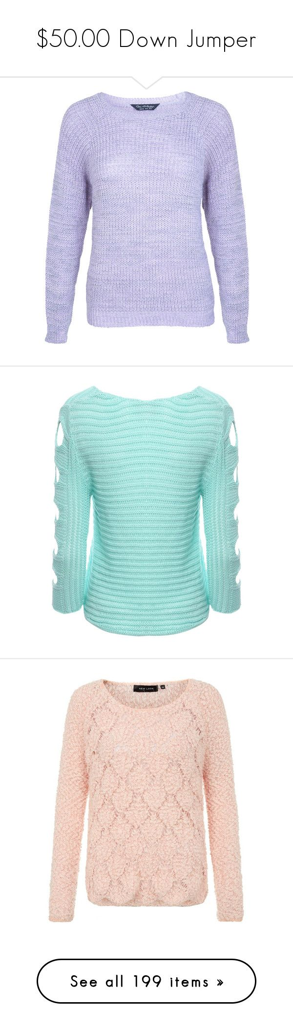"""$50.00 Down Jumper"" by pinky-chocolatte ❤ liked on Polyvore featuring tops, sweaters, purple, jumper top, acrylic sweater, miss selfridge, fisherman knit sweater, purple top, aqua and 3/4 sleeve sweaters"