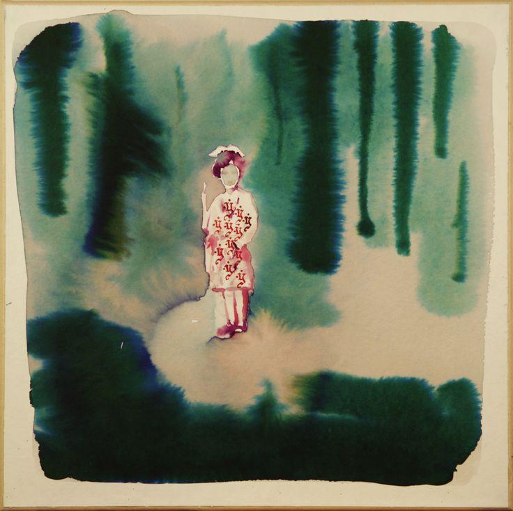 Maciej Olekszy, W lesie,  atrament, papier naklejony na płótno, 50 x 50 cm, 2011