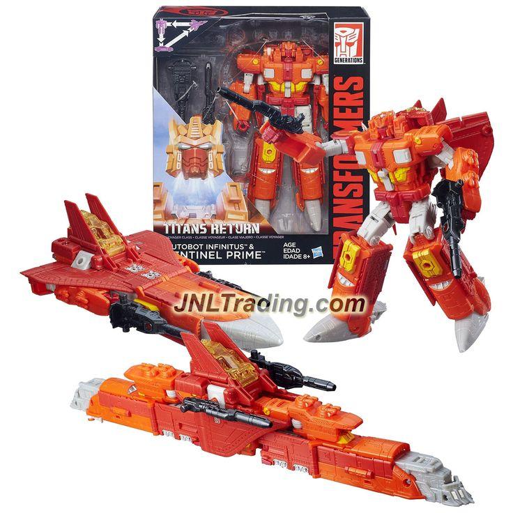 Hasbro Year 2015 Transformers Generations Titans Return Voyager Class 7 Inch Tall Figure - AUTOBOT INFINITUS & SENTINEL PRIME (Alt Mode: Jet & Train)