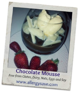 Chocolate Mousse-allergy friendly  Free From Gluten, Dairy, eggs, nuts and Soy www.allergysave.com