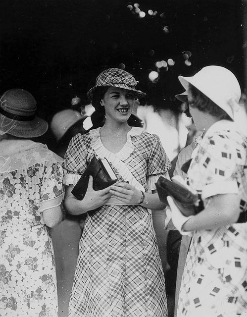 Wearing a matching hat and dress, Miss J. Norris attended the Ascot Races, Brisbane, 1933, via Flickr.