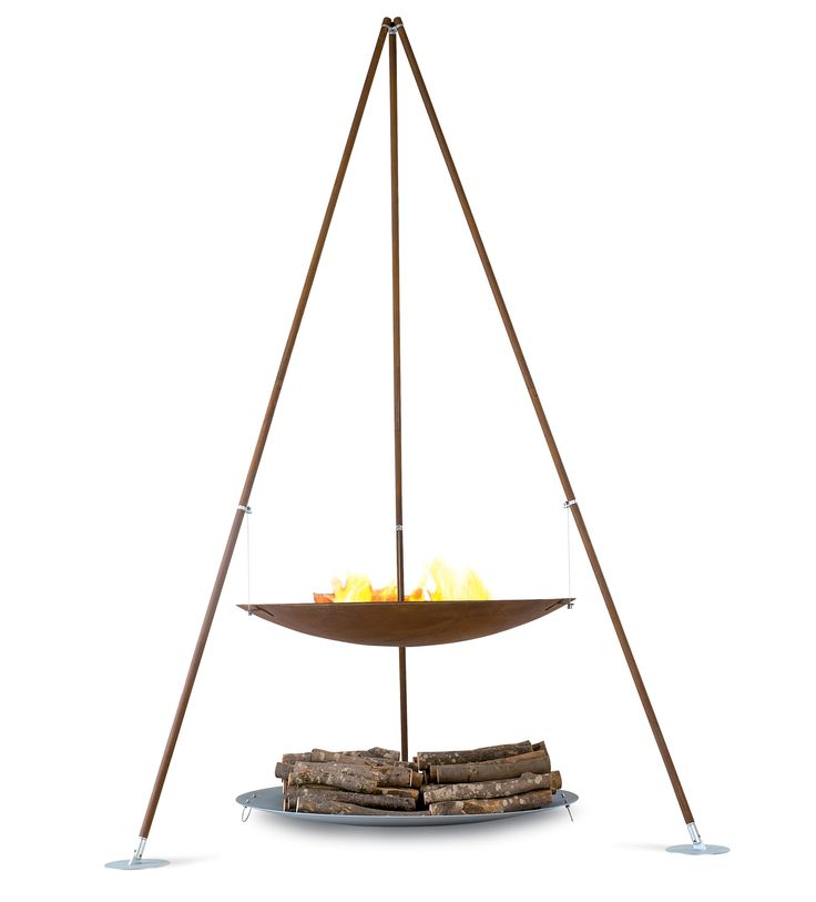 Tripee firepit, designed by Ivano Losa for AK47 Design - Italy. Tripee is made in oxidised steel with galvanised steel feet, and stainless steel wire. Tripee measures an impressive 3m height, and is optionally available with stainless steel bbq grill.