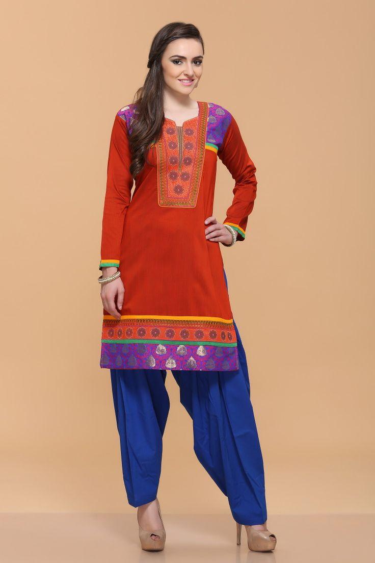 Boho tunic top blouses and dress 4009 trendy boho vintage gypsy - Orange Silky Cotton Slub Kurti Design No 4025 Price 26 61 Long Sleeve Kurta Lined With
